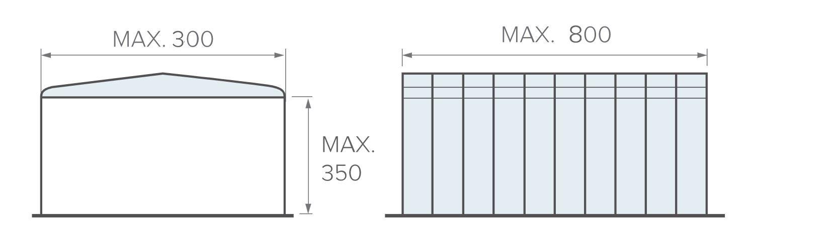 misure massime box estensibile tunnel
