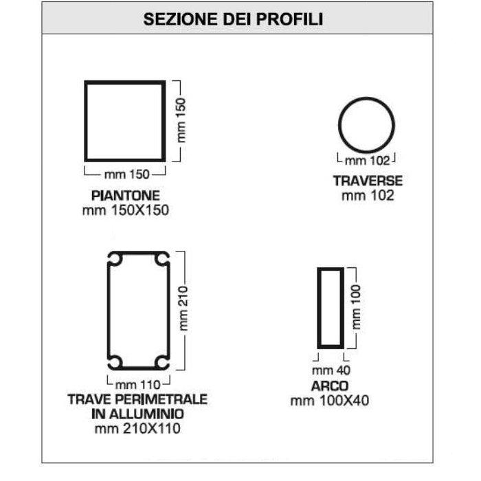 Profili struttura padiglione maxi down