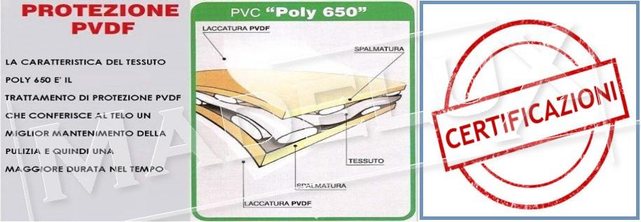 telo pvc certificato ignifugo uso pubblico gazebo coperture CE