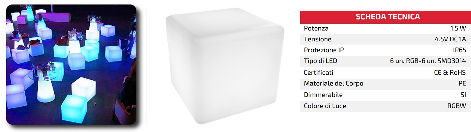 scheda tecnica sfera cubo luminosa led