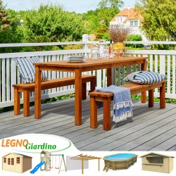 SET tavolo e panche legno CASABELLA